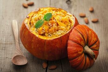 rice dinner in pumpkin