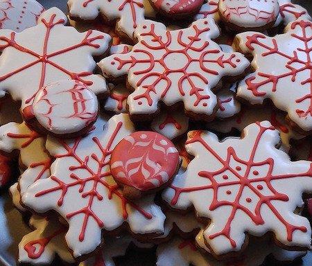 snowflake cookies iced