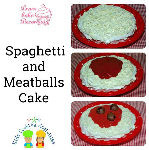 spaghetti and meatball party cake