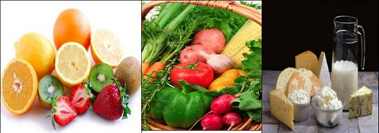 one fruit, one vegetable one dairy