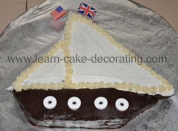 sailboat cake frosted