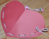 sewn heart Valentine with candy