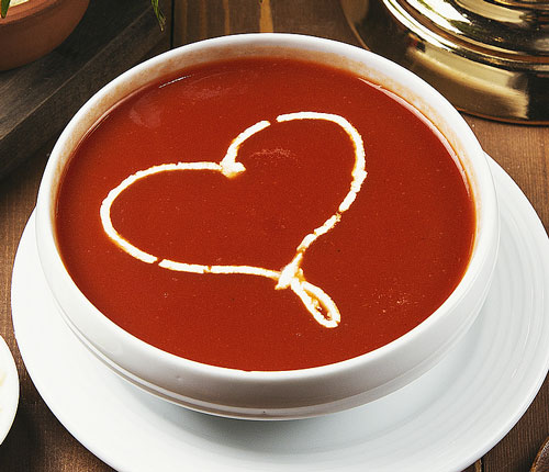 soup with heart garnish