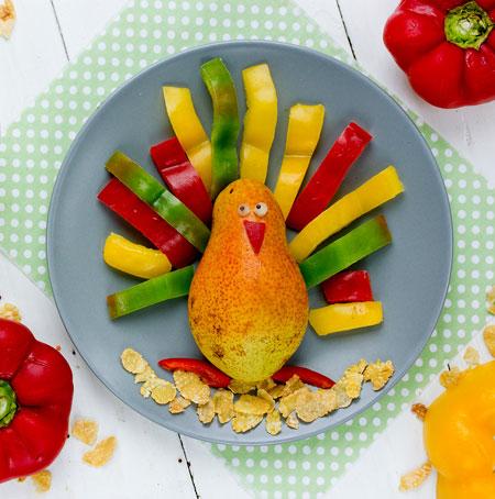 vegetables shaped turkey