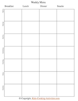 weekly menu calendar