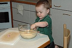 toddler stirring