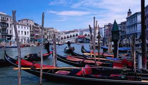 Gondolas on the water