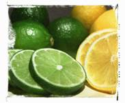 lemon and lime slices and whole lemon and whole lime