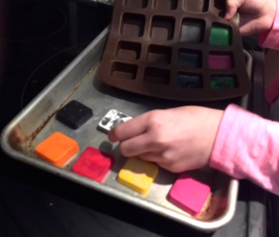 Recycling Crayons in a mold
