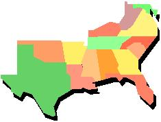 Southern Cooking Covers Recipes Found In The Southern United States - Map of the southern us
