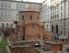 New and the old buildings. Eastern European ancient church in Sofia Bulgaria