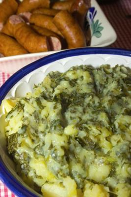 Sauteed kale with mashed potatoes- a traditional Dutch recipe