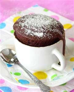 Chocolate Cake in a Mug with Powdered Sugar