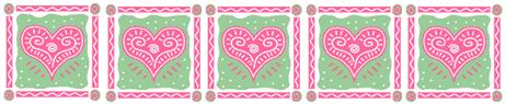Valentine Day border with hearts for Valentine recipes page