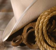 Western hat and rope graphic